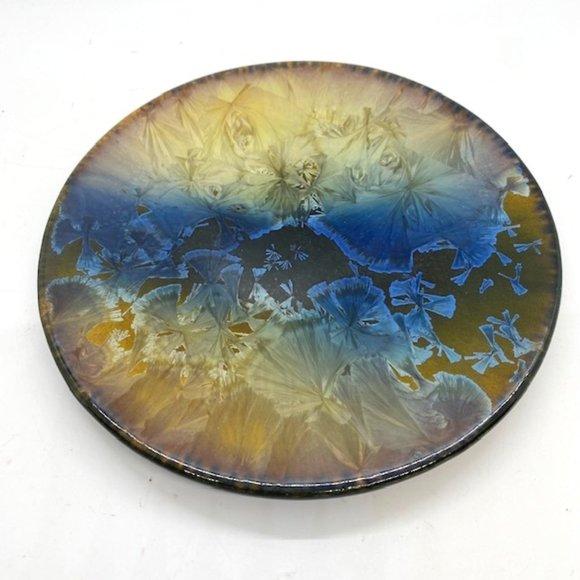 BoHo Crystalline Art Pottery Hanging Plaque Plate